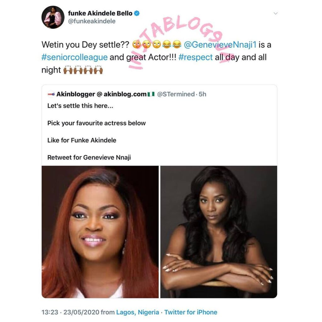 Actress Funke Akindele addresses a blogger who pitted her against Genevieve Nnaji