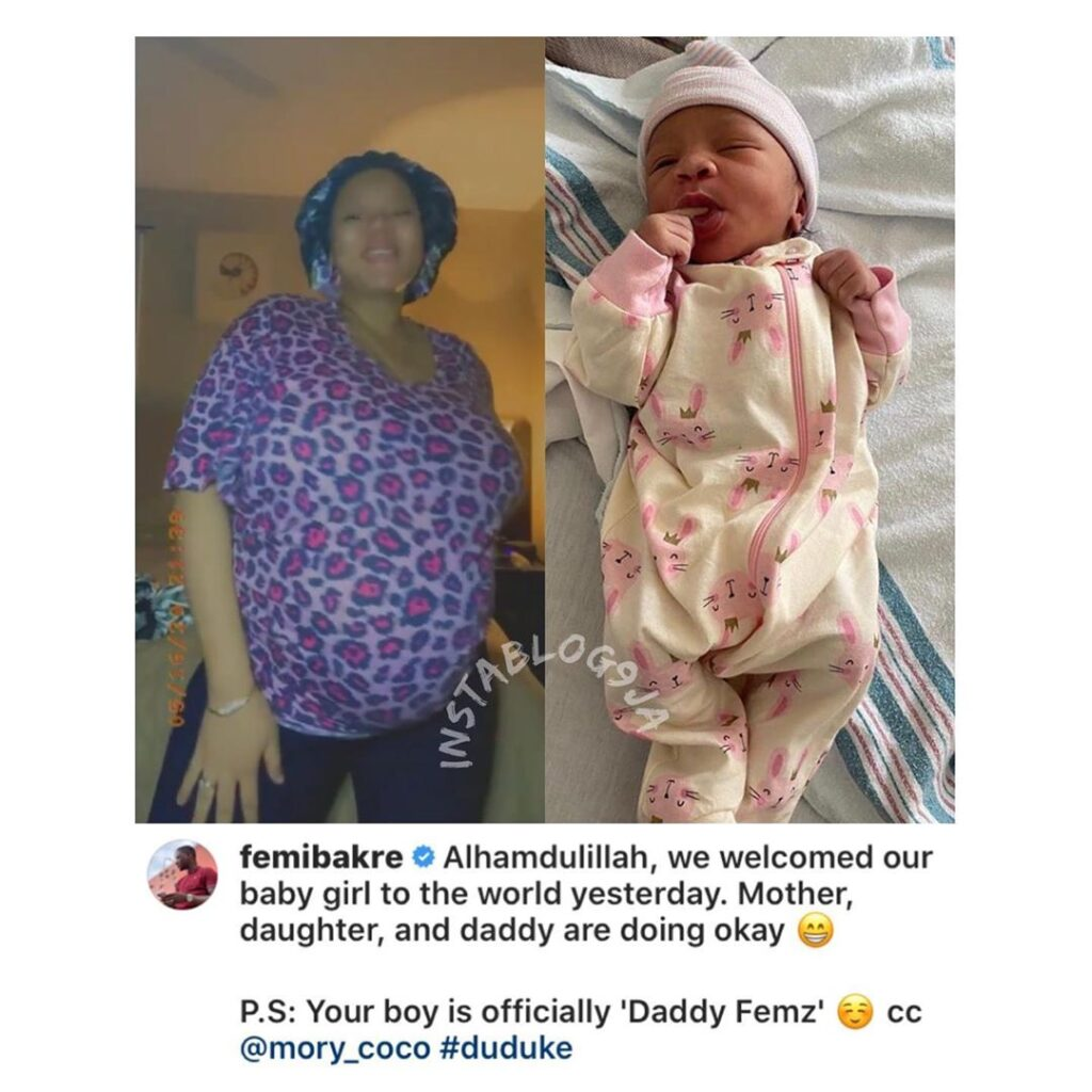 Comedienne Mariam (Mory Coco) and husband, Femi, welcome their first child
