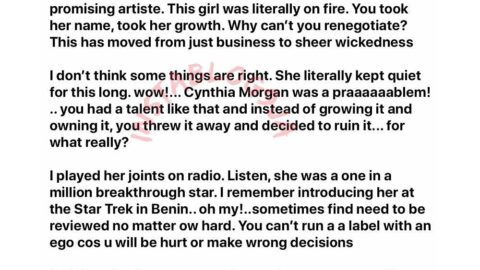 """Cynthia Morgan: """"This has moved from business to sheer wickedness,"""" OAP Dotun tells Jude Okoye"""