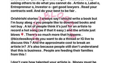 People who can't free a N5k debt are asking a record label being owed millions by an artiste, to forgive and forget – OAP Gbemi