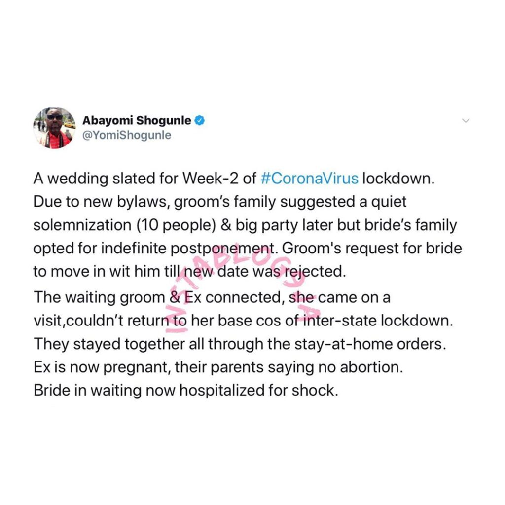 Groom impregnates his ex during lockdown after the bride postponed their wedding