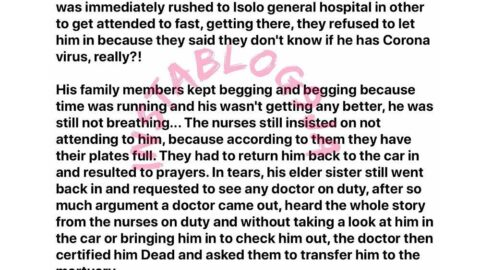 How my friend slumped while playing football and died because the Isolo General hospital, Lagos, refused to admit him due to COVID-19 – Nutritionist Amaka
