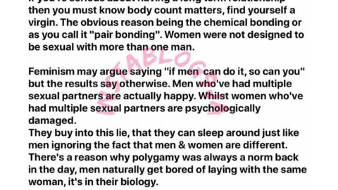 Why virgins are best for long term relationships – VLogger Knight educates men [Swipe]