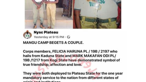 Corps members who met at the Plateau State orientation camp, set to wed on Saturday. [Swipe]