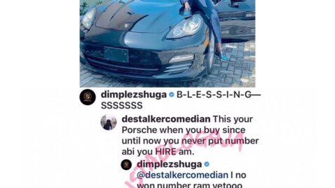 Comedian #Destalker, questions the ownership status of singer #Dimplez Porsche