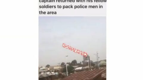Confusion as police officer allegedly slaps a soldier for not wearing face mask in Tundun Wada, Kaduna State