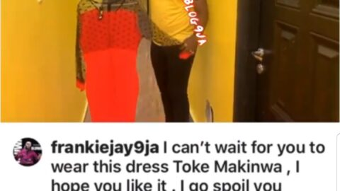 PDA: Sugar Daddy, #FrankieJay, instructs #TokeMakinwa to jump into his DM, after buying her a dress worth millions of Naira