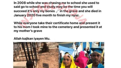 Man presents his NYSC certificate to his late mum at her grave