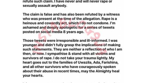 Rape allegation: Perruzi apologizes for his old irresponsible tweets. [Swipe]