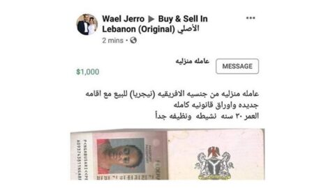 Lady put up for sale in Lebanon refuses to return to Nigeria .