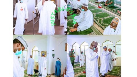 Pres. Buhari attends Juma'at prayers as mosques reopen at the State House, Abuja