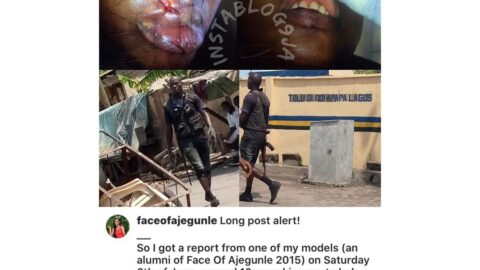 Policeman punches lady who stopped him from assaulting a pregnant woman in Lagos. [Swipe]