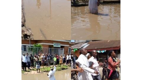 Revd Okechukwu protest against the state of Ohanku road Aba, Abia state.