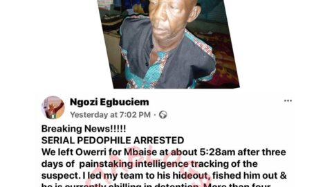 Serial pedophile who allegedly defiled and infected four minors,  arrested in Imo State. [Swipe]