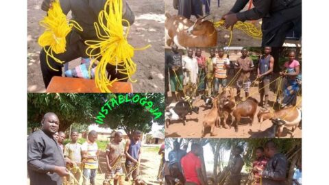 Benue State politician, Daniel Ukpera, donates ropes to his community members to effectively tie their goats