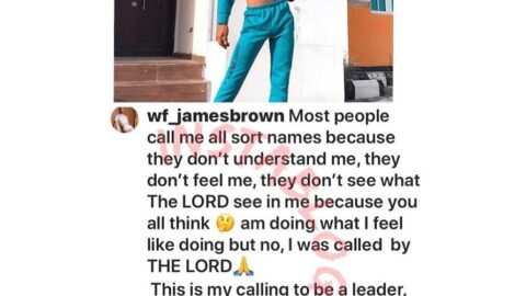 I was called by God to give the youth courage and confidence to be whoever they want to be — Nigerian Crossdresser, James Brown