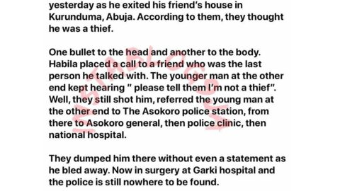 JusticeForHabilakayit: Lady cries out after police allegedly shot and abandoned her brother in Abuja. [Swipe]