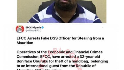 Man arrested for stealing a bag at an EFCC event attended by Pres. Buhari. [Swipe]