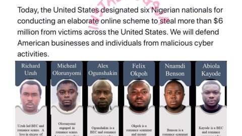 US Sanctions 6 Nigerian Cyber Criminals For Stealing $6m. [Swipe]