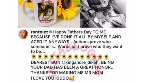 Churchill consoles all fathers as his ex, Tonto Dikeh, claims paternity of their child. [Swipe]