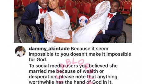 Nigerian physically challenged man addresses those saying his wife got married to him because of money