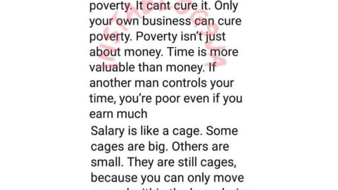 Salary is the medicine for managing the disease called poverty, it can't cure it — Reno Omokri