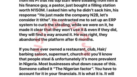 No matter the pay or incentive you give your staff, most will steal — Nigerian Business guru. [Swipe]