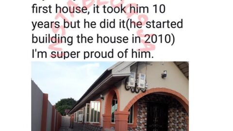 Man celebrates his father as he completes his first house after 10 years