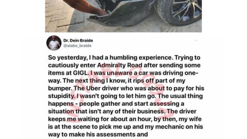 Man recounts how he teared up after he forgave a cab man who hit his car in Lagos. [Swipe]