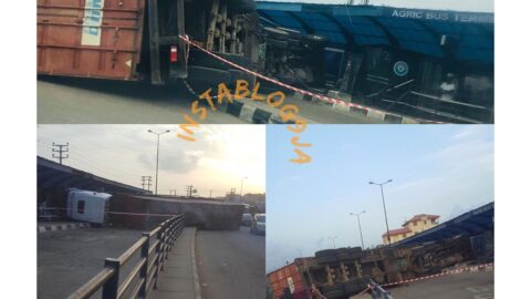 Waiting passengers escape death as truck loses control and crashes into Agric BRT terminal in Lagos