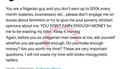 Don't engage me on issues bordering feminism if you don't earn up to N500k/month — UK-based Feminist