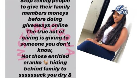 Stop telling people to help their family members (entitled animals) before doing giveaways online — TV girl Eloho