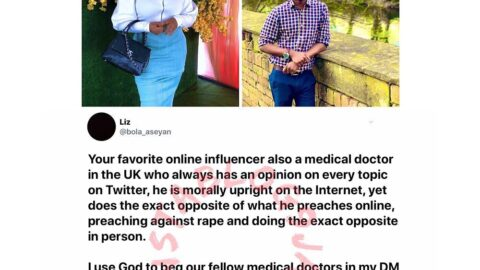UK based Nigerian doctor calls out her colleague and popular Twitter Influencer, Dr Funmilayo, over alleged sexual and emotional abuse. [Swipe]