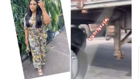 Actress Nkechi Blessing bitterly reacts to the dangerous condition of a container truck plying Lagos roads