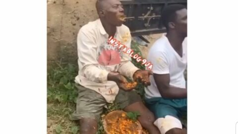 Men made to eat sacrificial feast they dropped at a T-junction in Ikorodu, Lagos