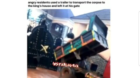 Community members use tipper to dump a corpse at the King's palace over a land dispute in Ogidi, Anambra State