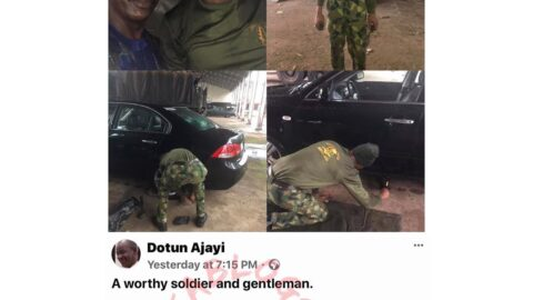 Pastor Ajayi appreciates a soldier who helped him when he was stranded in the rain