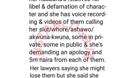 Nigerian lady explains why she's suing 19 of her husband's relatives for defamation of character