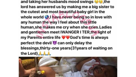 Lady rejoices as her stepmom welcomes a child after 31yrs of waiting in Benue State