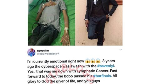 Three years after Nigerians contributed to help him beat cancer, Niyi passes his bar finals at the Nigerian Law School.