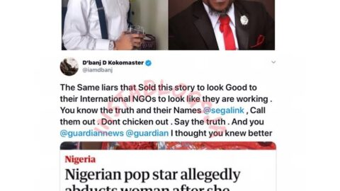"""""""You know the truth and their names, call them out,"""" D'banj tells Activist Awosanya who was formerly working with his rape accuser. [Swipe]"""