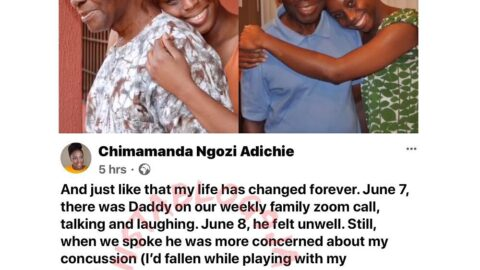 """""""My heart is broken. Can't believe I'm writing about him in past tense. He was Nigeria's first professor of Statistics,"""" Chimamada Adichie mourns dad. [Swipe]"""