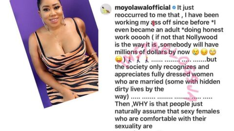 The society only appreciates fully dressed hardworking ladies while those unclad are regarded as promiscuous — Actress Moyo Lawal