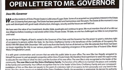 Oniru Residents write open letter to Mr. Governor appealing to him to intervene after new Oba uses touts and miscreants to terrorize them [SWIPE TO READ ALL]