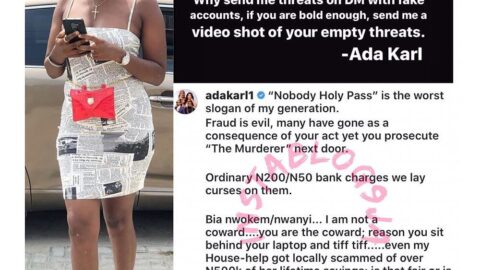 """""""It shall never be well with you,"""" actress Ada Karl assures all fraudsters"""