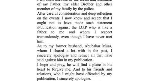 Lady, Nasiba Dauda, issues public apology to the Inspector General of Police, Abubakar Musa, for defaming his character
