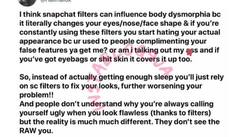 Snapchat filters can cause self-hate—Lady