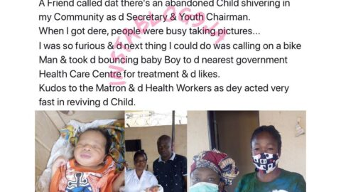 While others were busy taking pictures, man rescues an abandoned baby