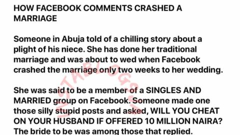 Groom's family allegedly calls off wedding, two-weeks before the D-day, over bride's Facebook comment. [Swipe]