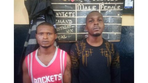 Two Nigerians arrested for trafficking 39 Nigerians to Ghana for cybercrime .